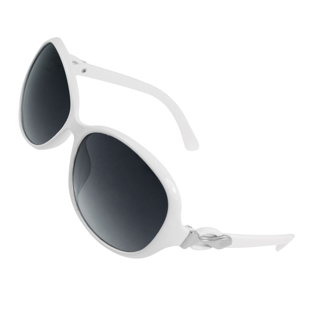 Woman Plastic Arms White Full Frame Oversized Lens Sunglasses