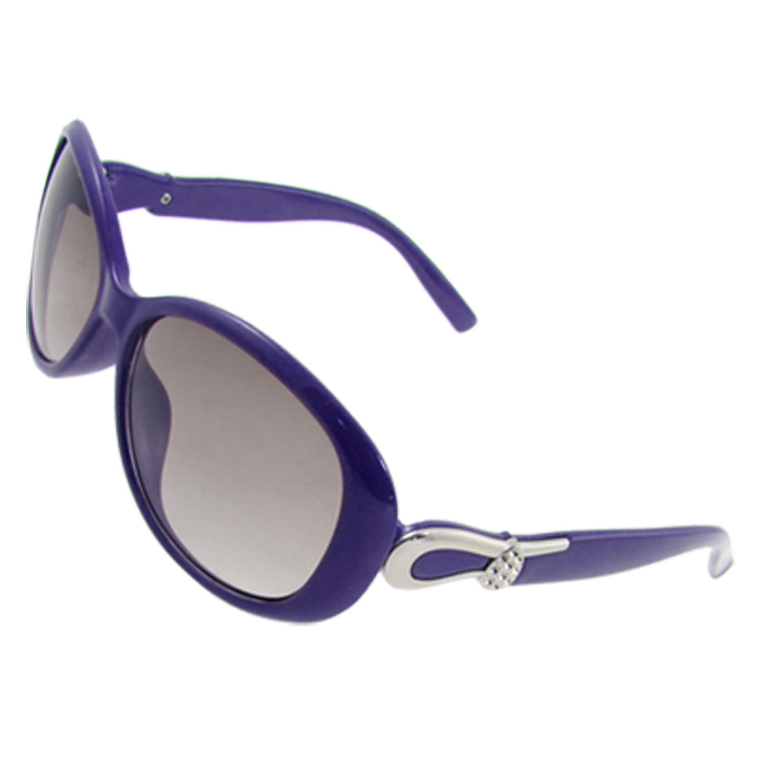 Ladies Metallic Floral Temples Purple Plastic Arms Sunglasses
