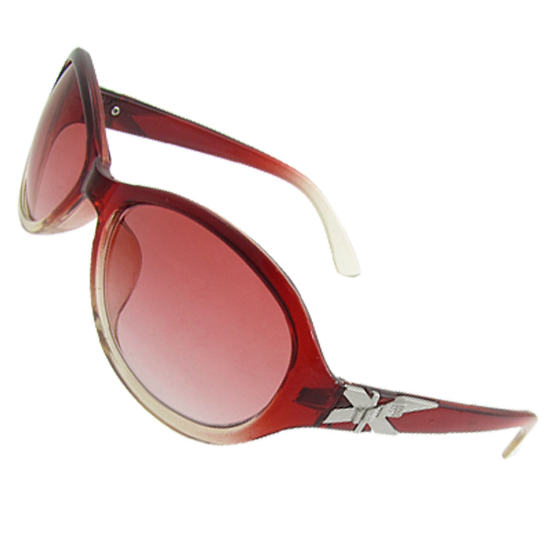 Lady Full Frame Red Clear Plastic Arms Raindrop Shaped Lens Sunglasses
