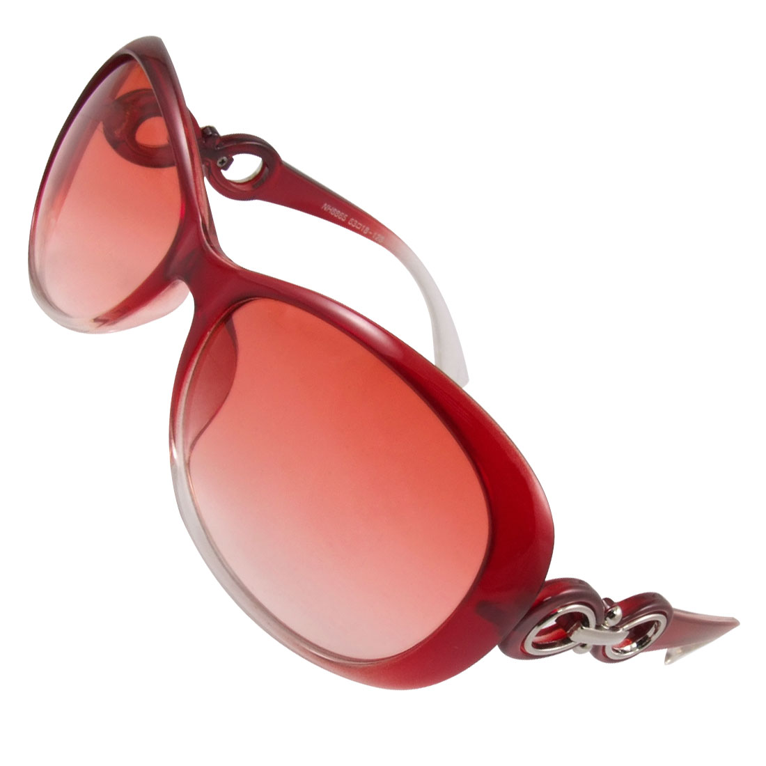 Women Red Clear Plastic Arms Gradient Tinted Lens Sports Sunglasses