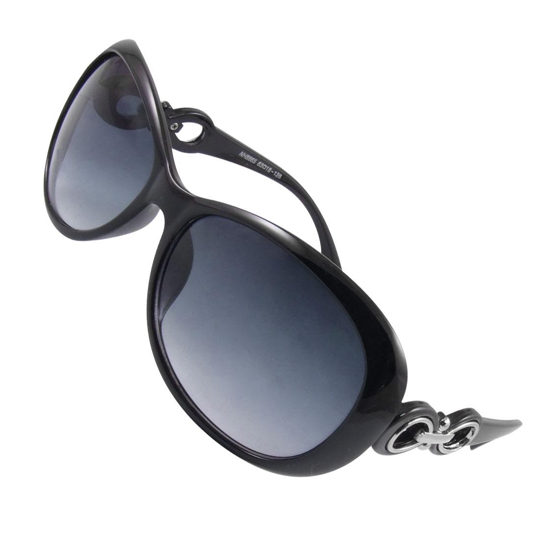 Women Full Rimmed Black Plastic Arms Gradient Tinted Lens Sunglasses