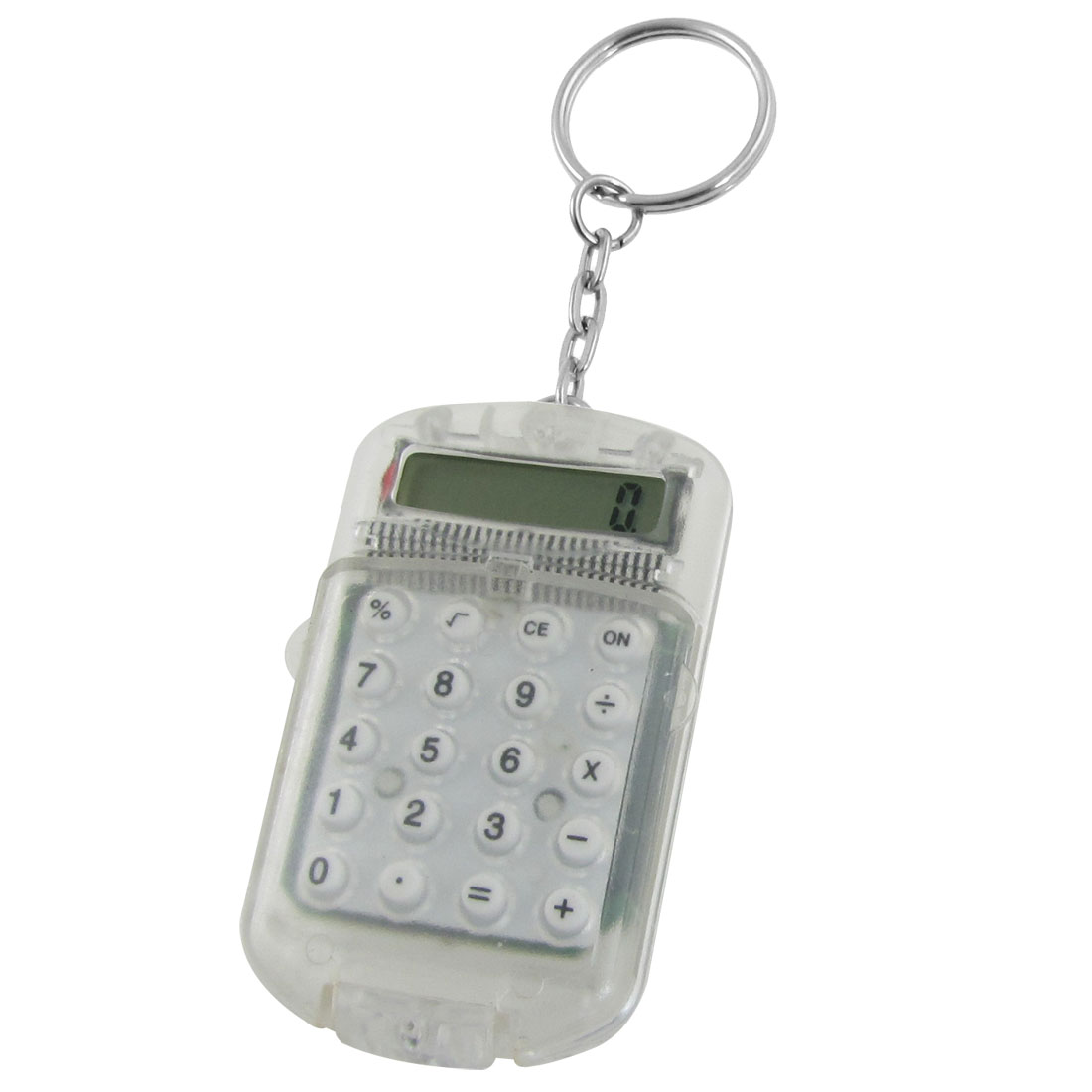 Clear Plastic Casing 8 Digits Electronic Mini Calculator w Keychain
