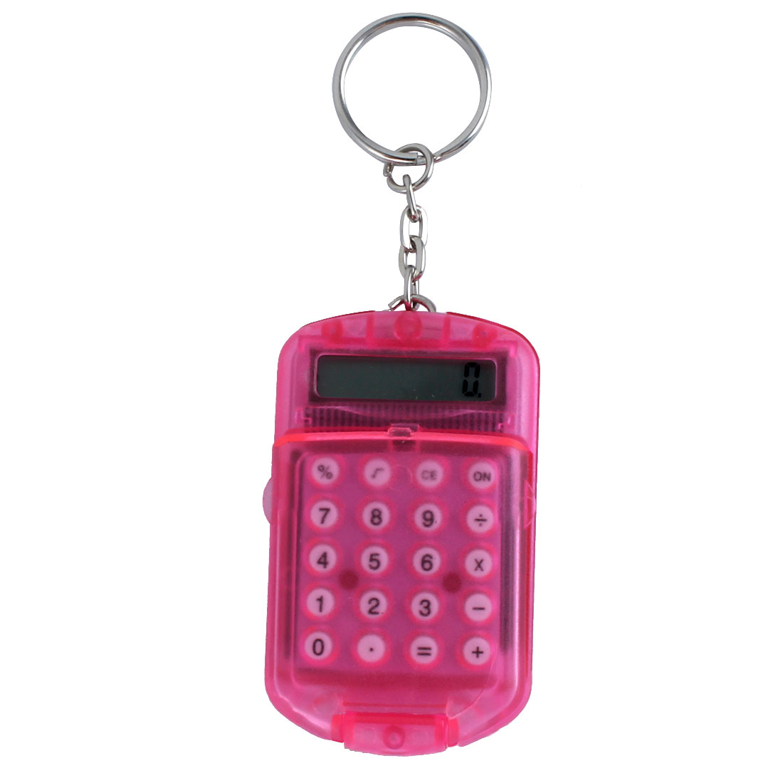 Pocket Fuchsia Plastic 8 Digits LCD Display Calculator w Keyring