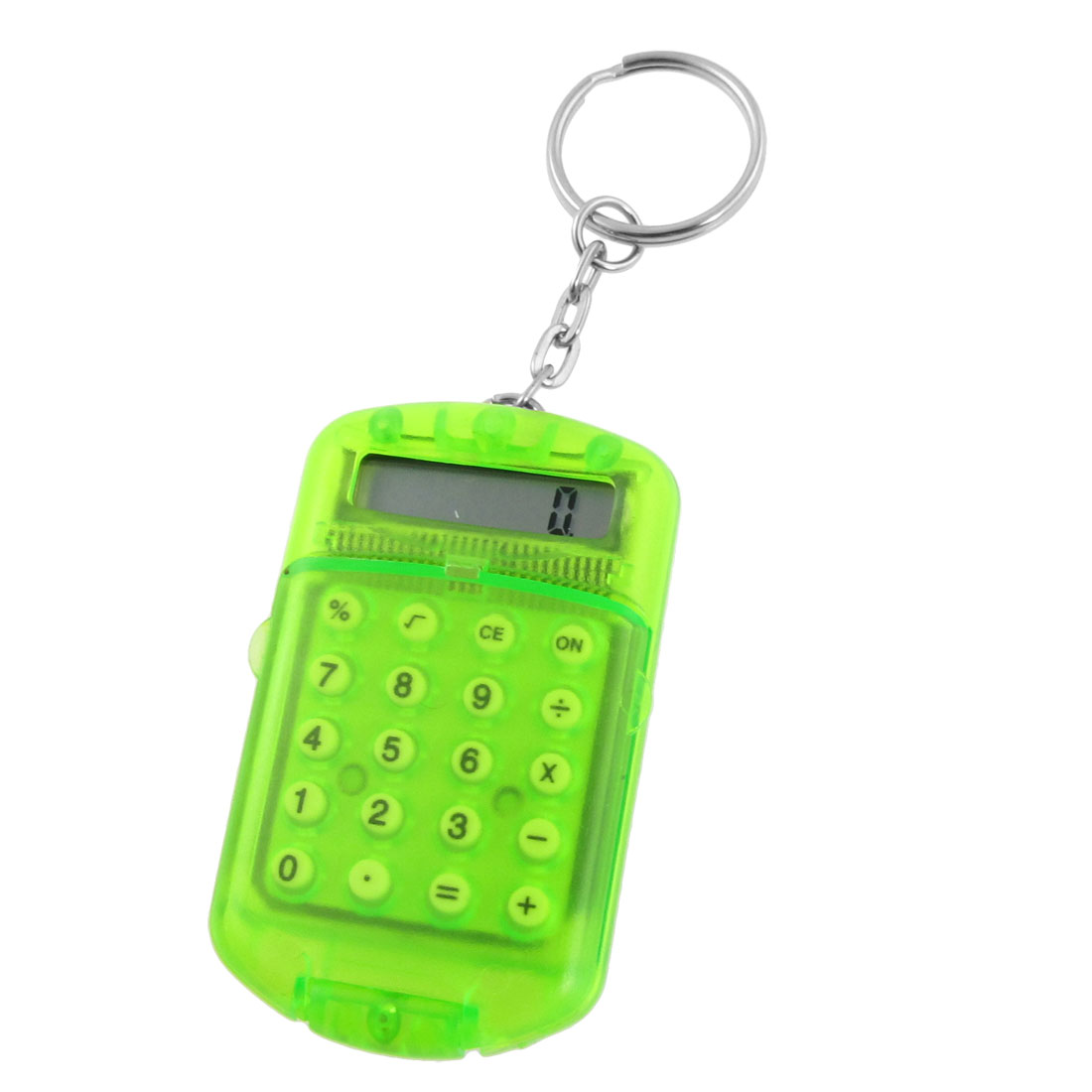 Clear Green Plastic 8 Digits LCD Display Mini Calculator w Keyring
