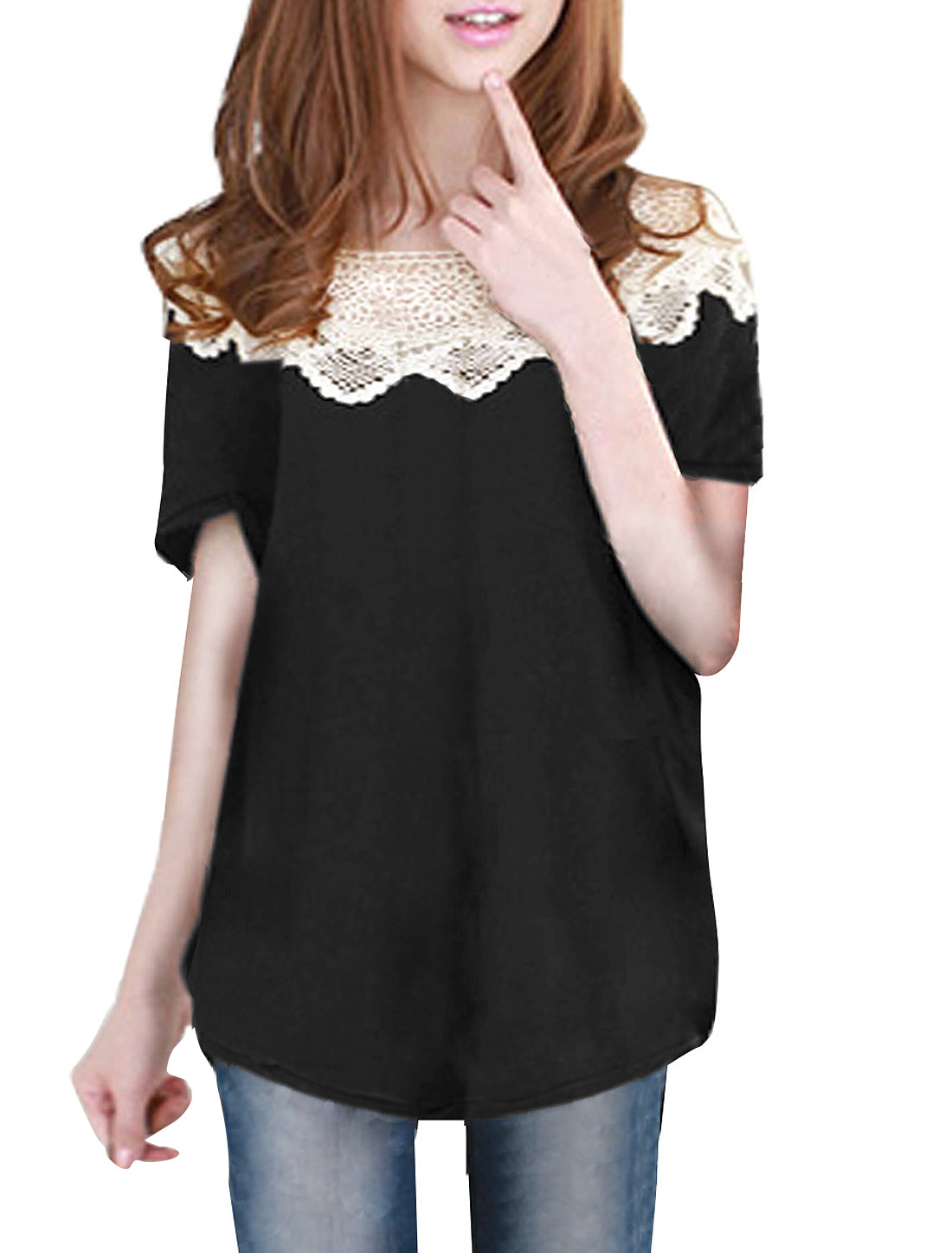 Scoop Neck Black Short Sleeve Loose Shirt XS for Ladies