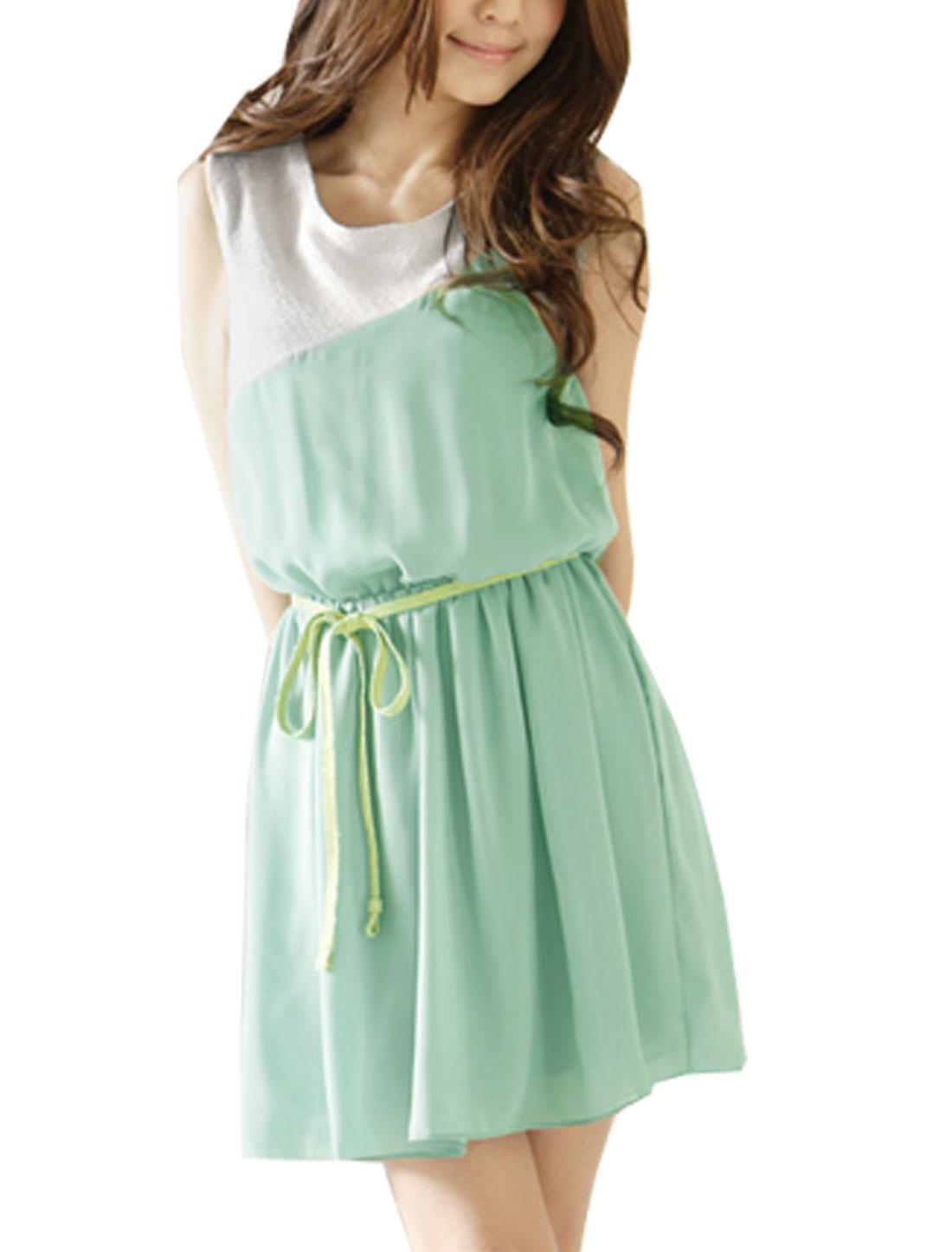 Light Green White Round Neck Sleeveless Chiffon Tunic Shirt XS for Lady
