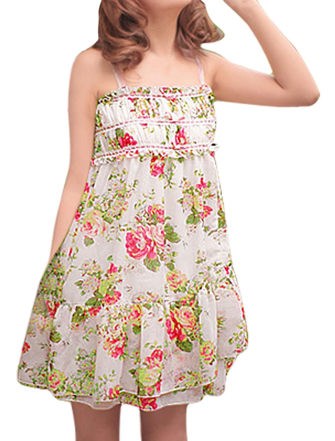 Women Spaghetti Straps Ruffled Hem Floral Chiffon Dress White XS