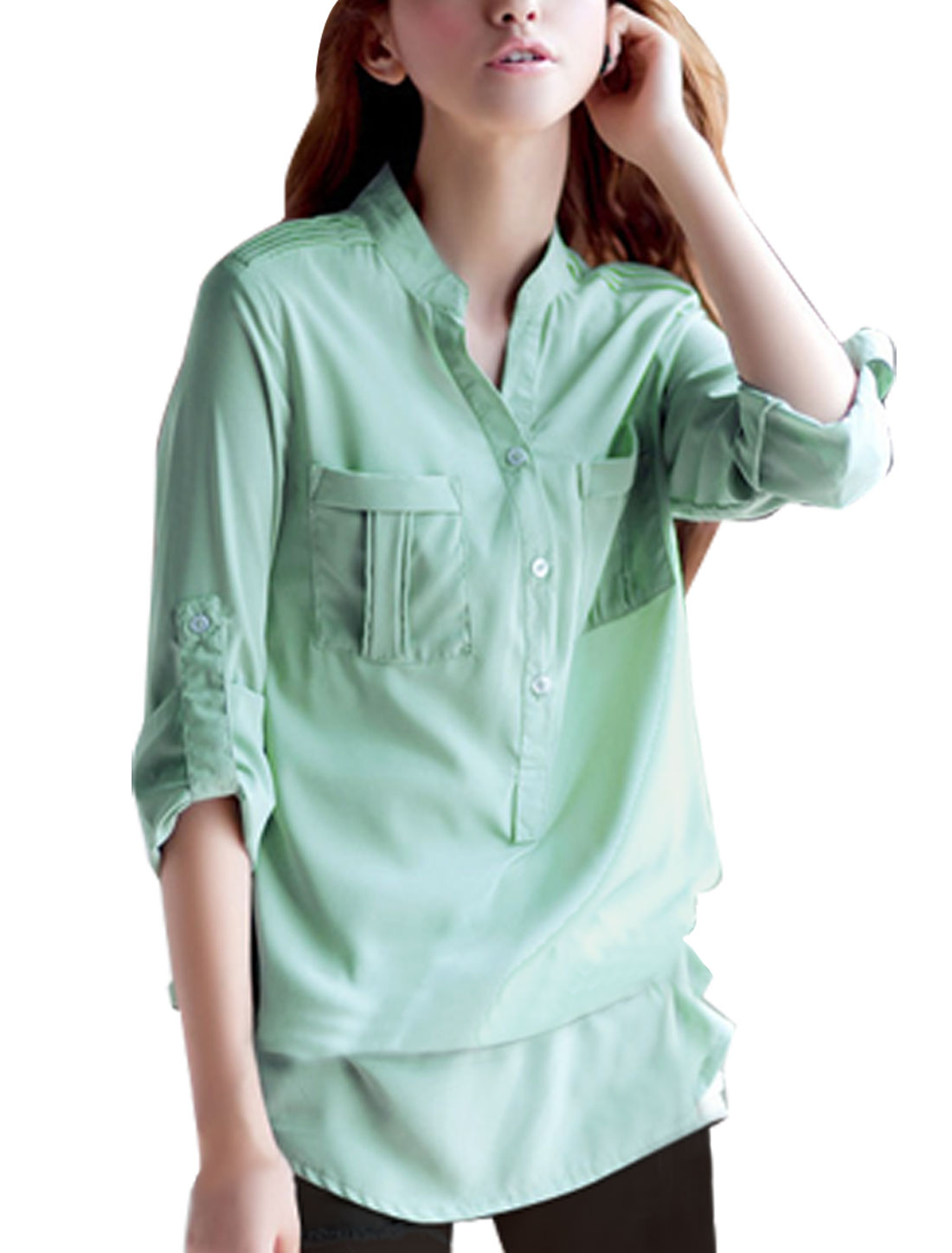 Cyan Stand Collar Single Breast Roll up Button Down Shirt S for Women