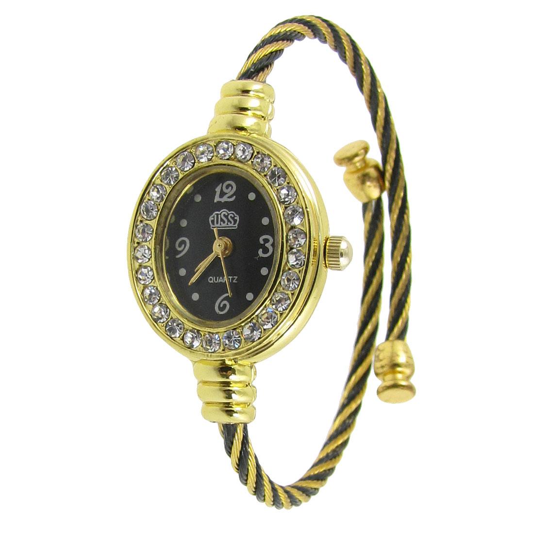 Lady Rhinestone Decor Oval Dial Bracelet Wrist Watch Gold Tone Black