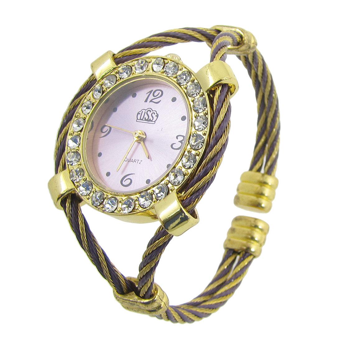 Lady Rhinestone Inlaid Light Purple Round Dial Bracelet Wrist Watch
