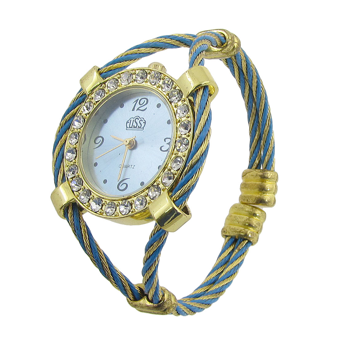 Rhinestone Decor Twist Band Round Dial Quartz Bracelet Watch Gold Tone for Woman