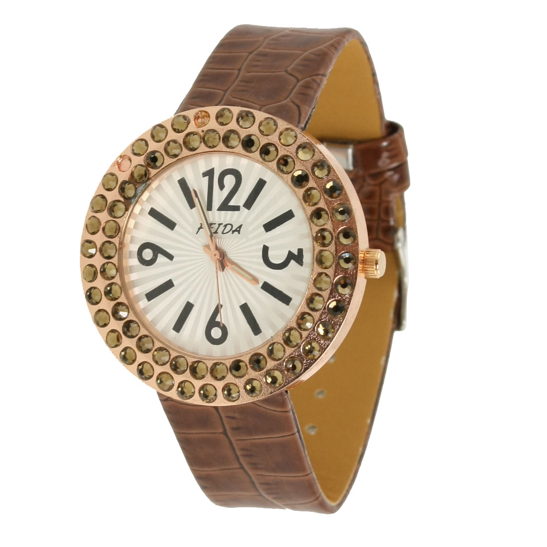 Woman Faux Rhinestone Decor Coffee Color Crocodile Print Band Watch