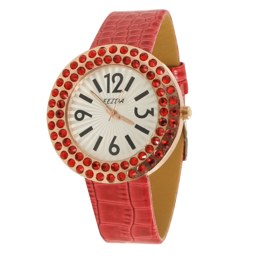 Woman Rhinestone Inlaid Case Red Crocodile Print Faux Leather Band Watch