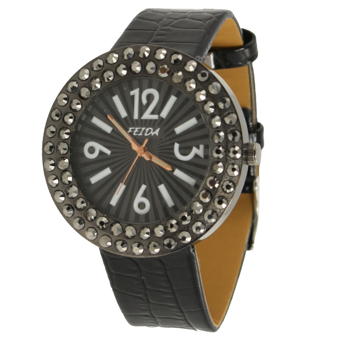 Woman Black Faux Leather Band Gray Rhinestone Inlaid Case Wrist Watch