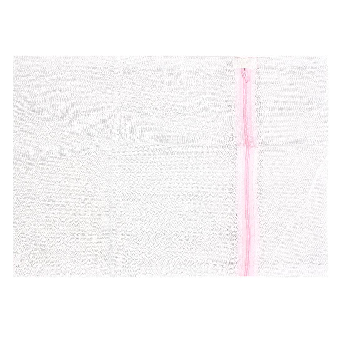 Home Laundry Zipper Nylon Washing Net Bag White 30x40cm