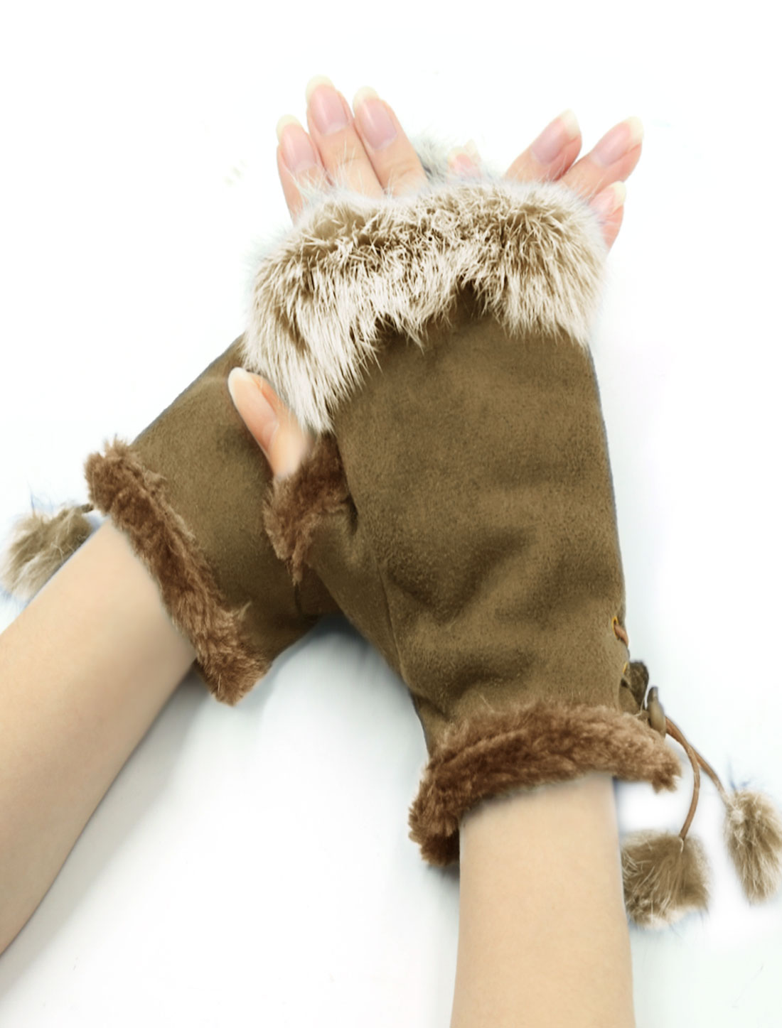 Pair Coffee Color Faux Fur Trimmed Wrist Warmers Fingerless Gloves for Lady