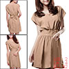 Khaki Short Sleeve Self Tie Waist Mini Dress XS for Women
