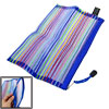 Zipper Multicolored Stripes Blue Stationery File Bag Pocket