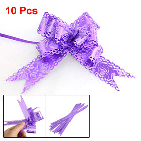 10 Pcs Gift Wrapping Decoration Purple Rose Print Pull Bows Ribbons