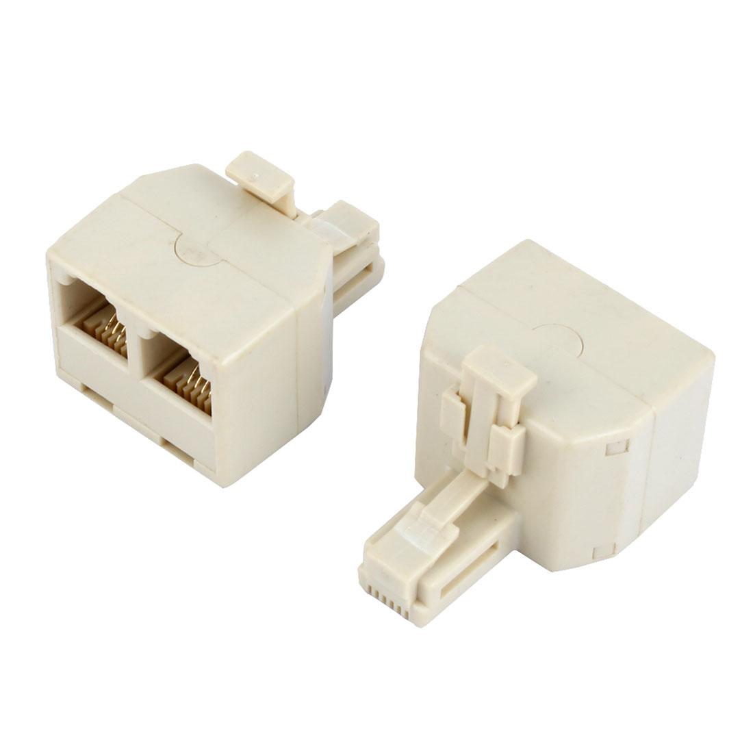 2 Pcs RJ11 1 Male to 2 Female Telephone Modular Splitter Adapter