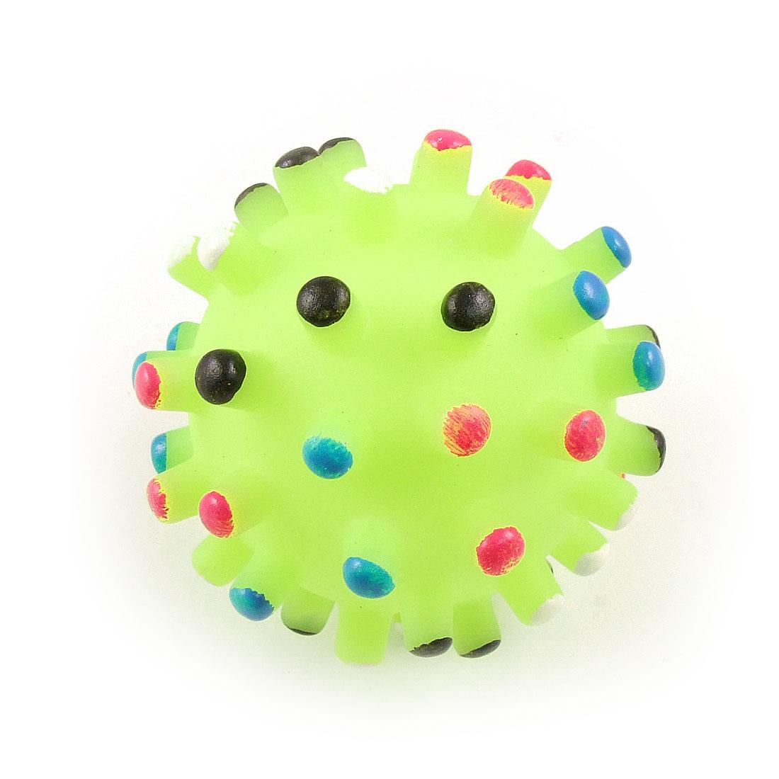 Pet Dog Yellowgreen Ball Rubber Squeak Squeaker Chew Toss Toy