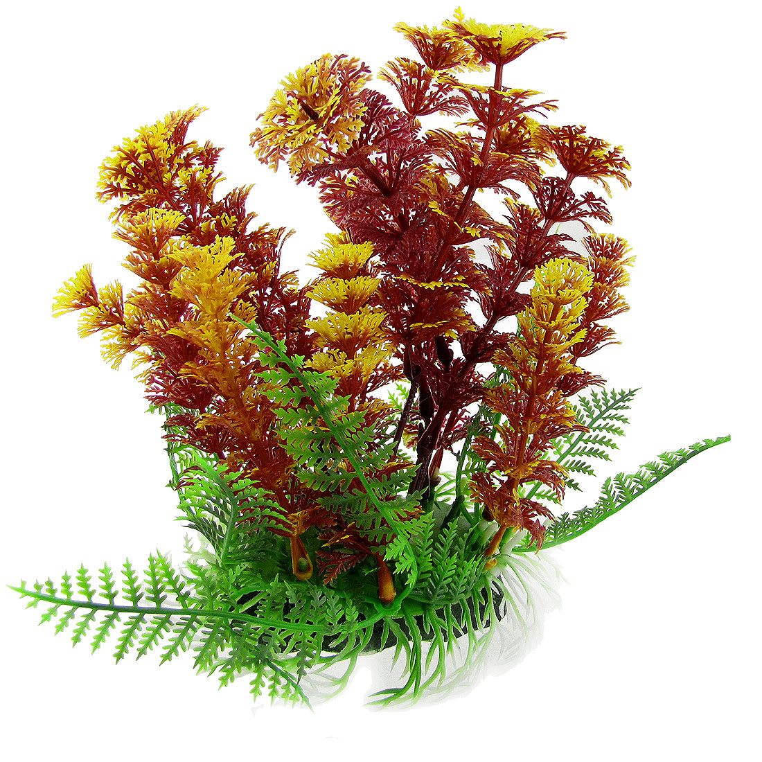 Ceramic Base Fish Tank Aquarium Plastic Emulational Grass Dark Red Yellow Plants Decor