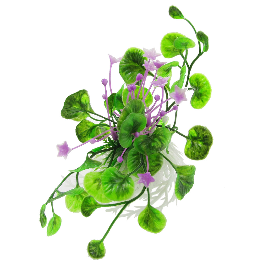 Purple Flowers Green Leaf Plastic Plants Grass Decor for Aquarium Fish Tank