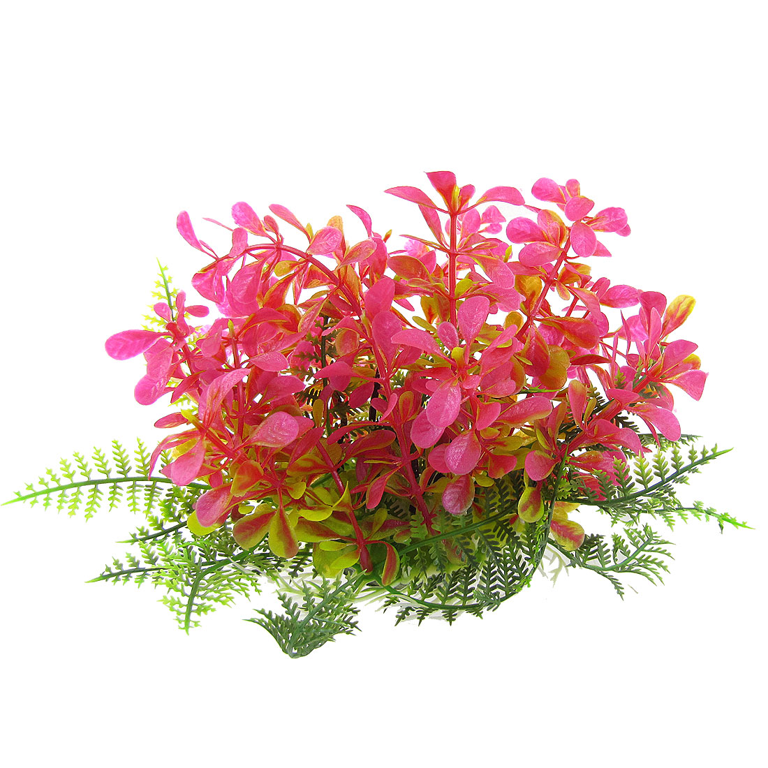 "Fish Tank Aquarium Plastic Fuchsia Green Grass Plant Decor 5"" Height"