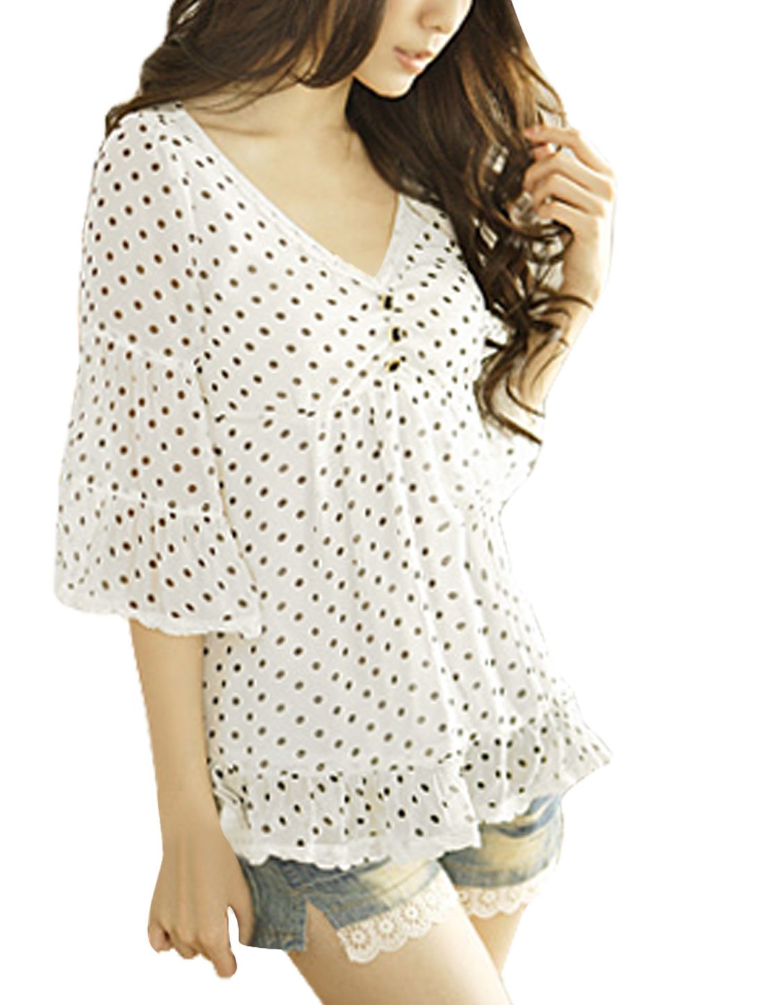Black Dots Print V Neck White Half Trumpet Sleeve Blouse XS for Women