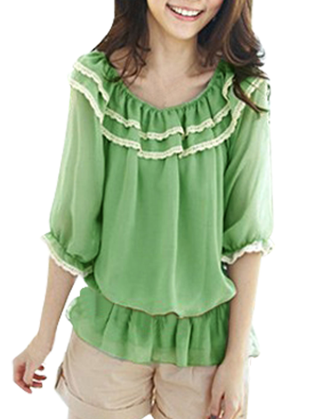 Green Layered Collar Chiffon Half Sleeve Blouse XS for Women