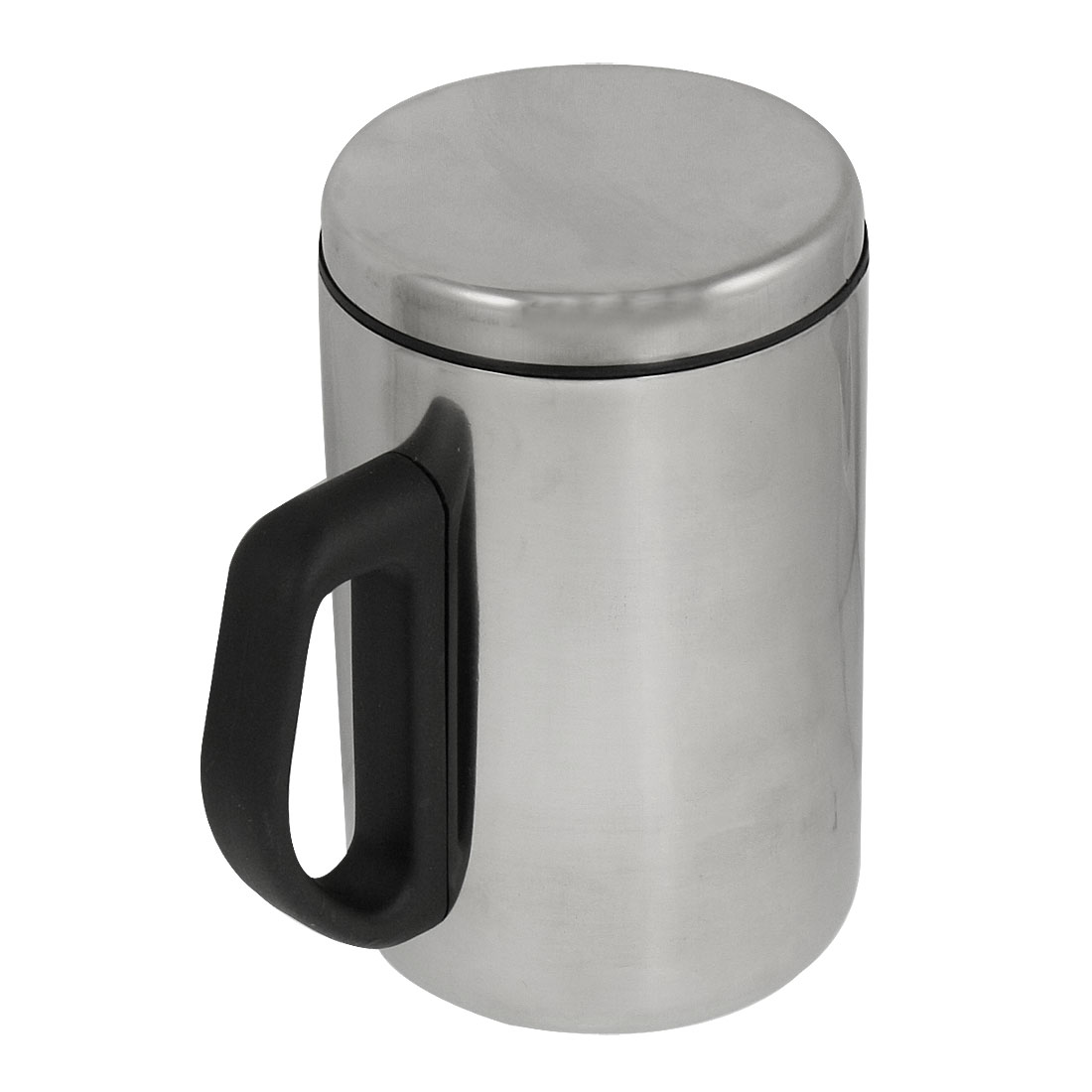 500ML Black Handle Silver Tone Stainless Steel Water Cup Mug