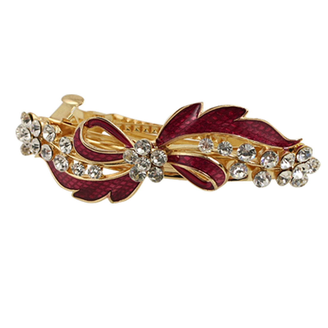 Rhinestone Detail Red Bowknot Metal Hair Clip Barrette Gold Tone