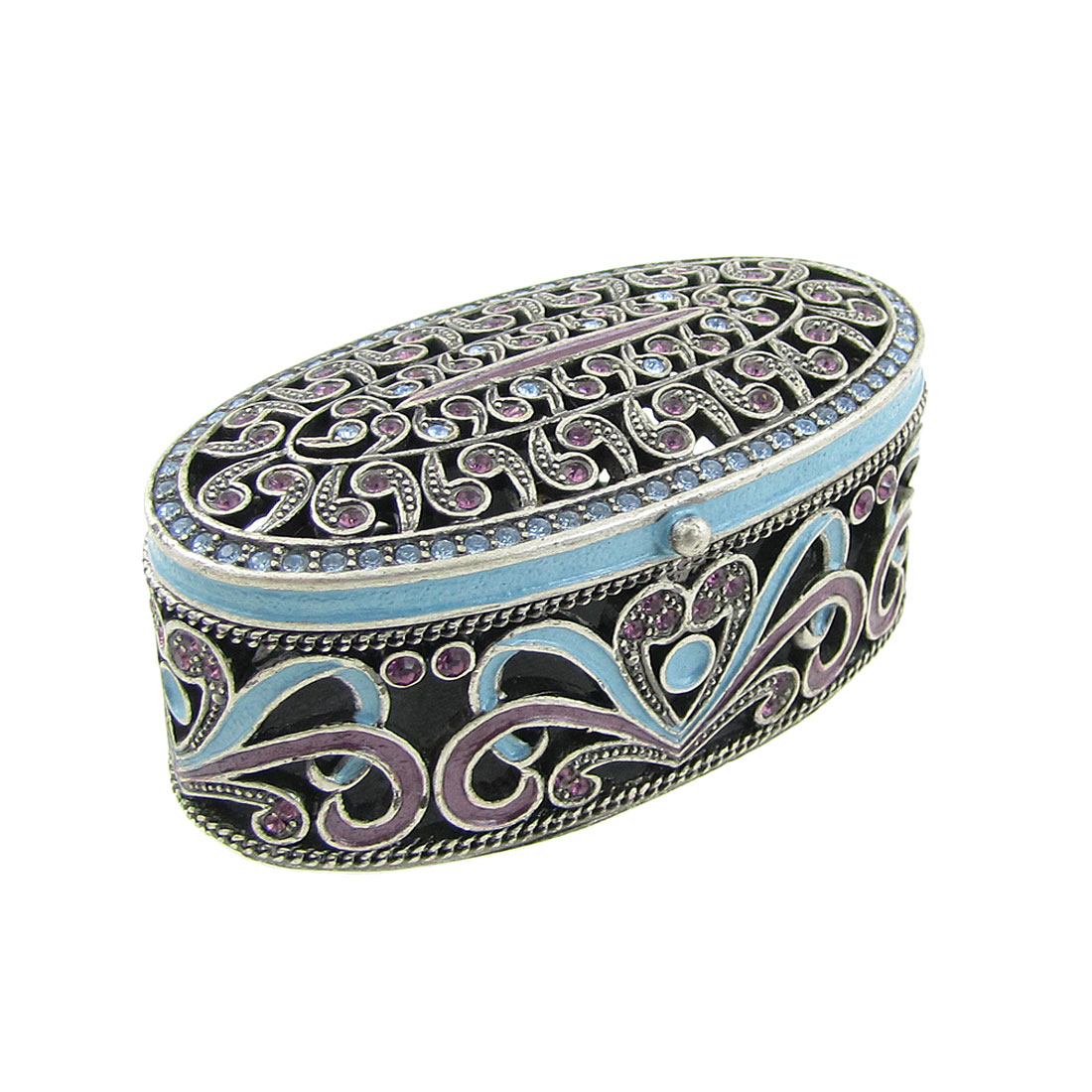 Tri Color Floral Hollow Out Earrings Ring Case Tabletop Ornament