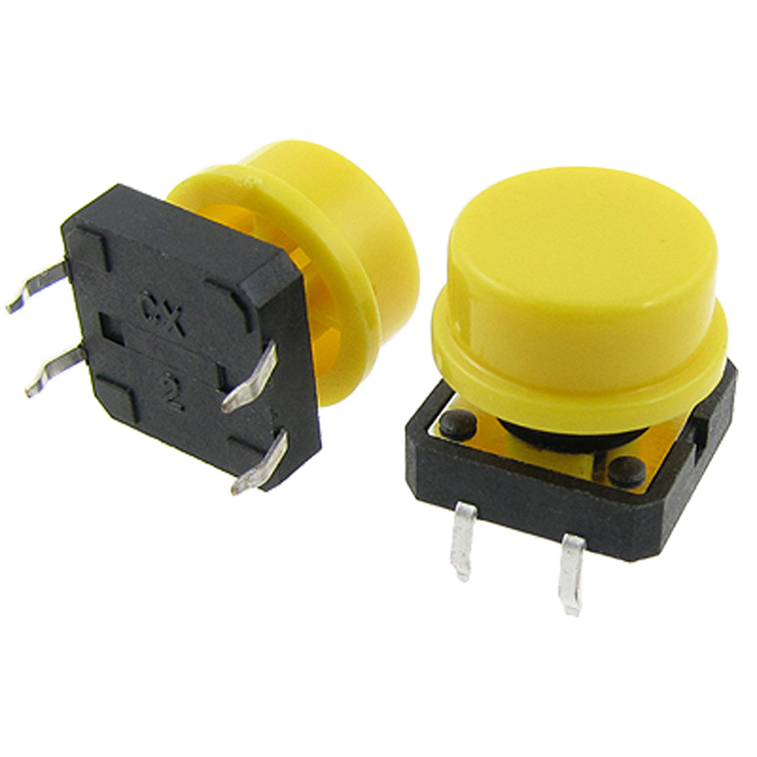 10 Pcs Momentary Tactile Push Button Switch 12 x 12mm x 12mm 4 Pin DIP Yellow