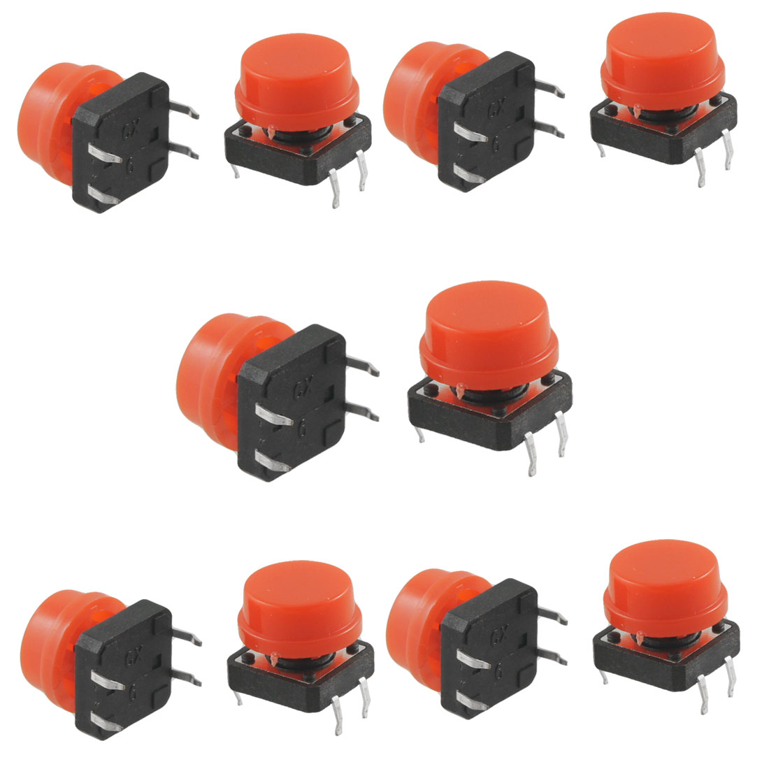 10pcs Momentary Tact Tactile Push Button Switch 12 x 12mm x 15mm 4 Pin DIP w Cap