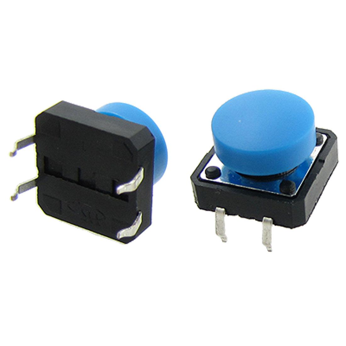 10 Pcs PCB Momentary Tact Tactile Push Button Switch 12x12x12mm 4 Pin DIP + Cap