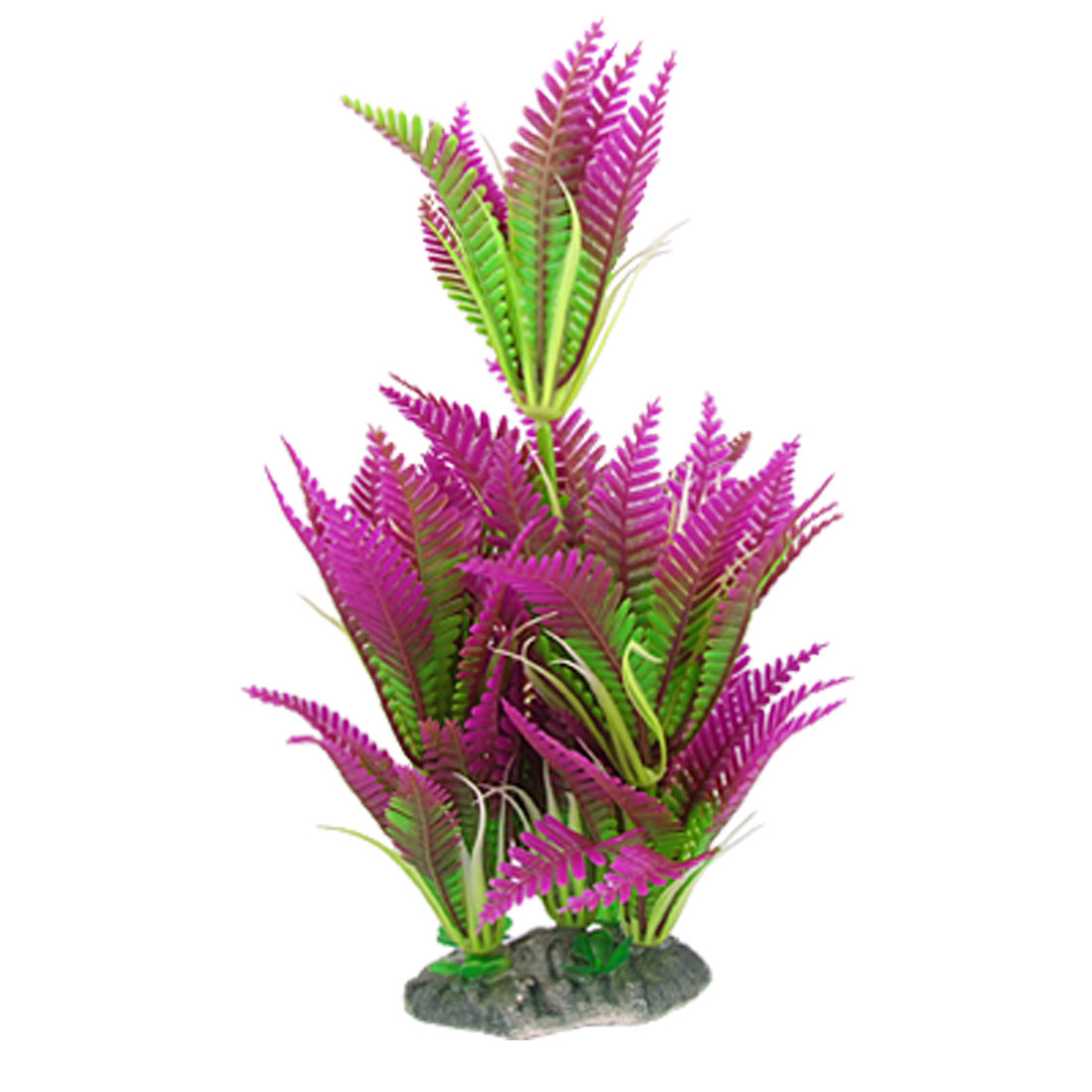 Aquarium Tank 25cm Long Ceramic Base Purple Green Plastic Water Plant