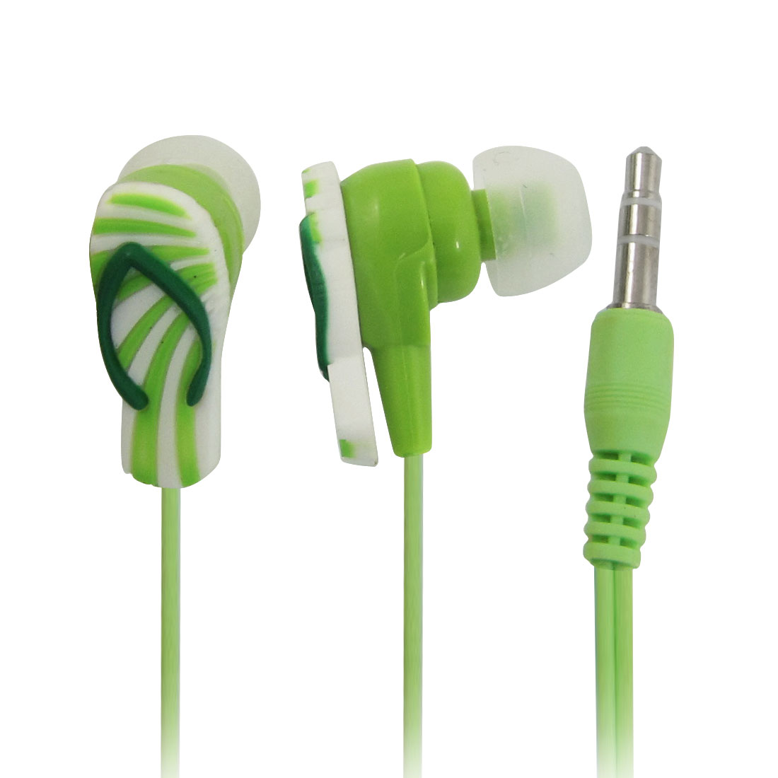 3.5mm Jack Summer Slippers Design in Ear Earbud Earphone Green + Ear Pads