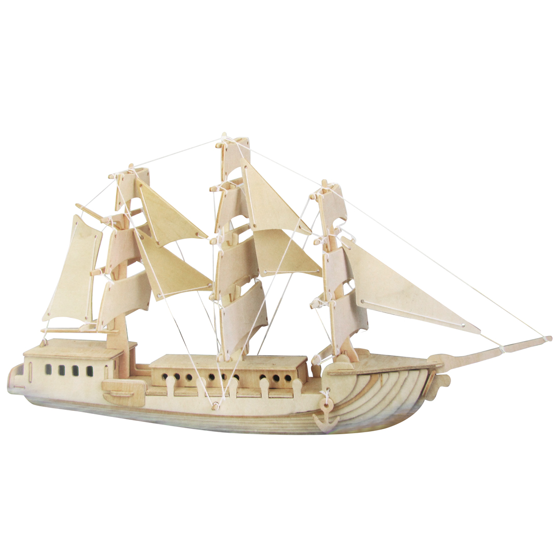 Woodcraft Construction Kit Wooden European Sailing Boat Model Puzzle Toy