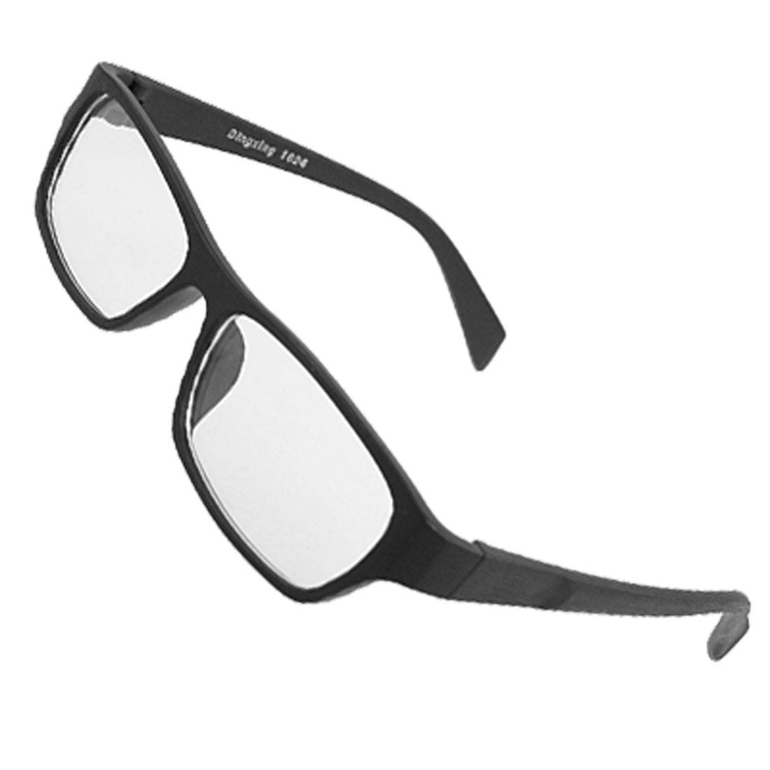 Women Men Wood Grain Black Plastic Arms Rimmed Clear Lens Glasses
