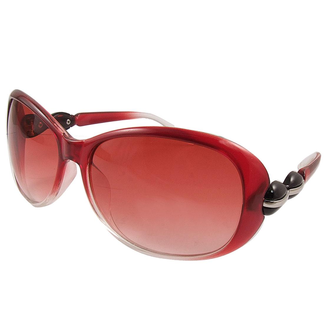 Clear Red Plastic Full Rim Single Bridge Sunglasses for Woman