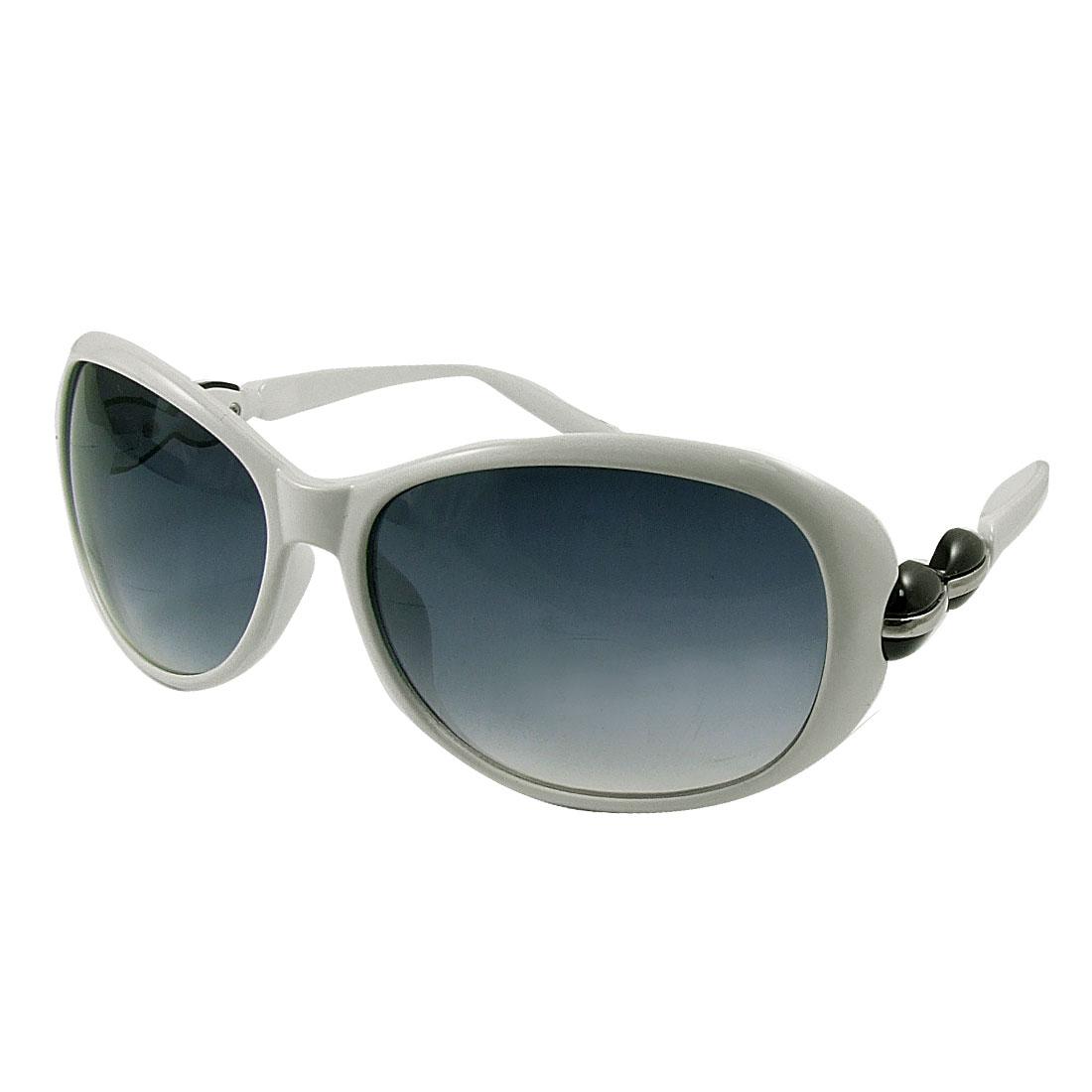 Black Peanut Decor Arm White Full Frame Sunglasses for Woman