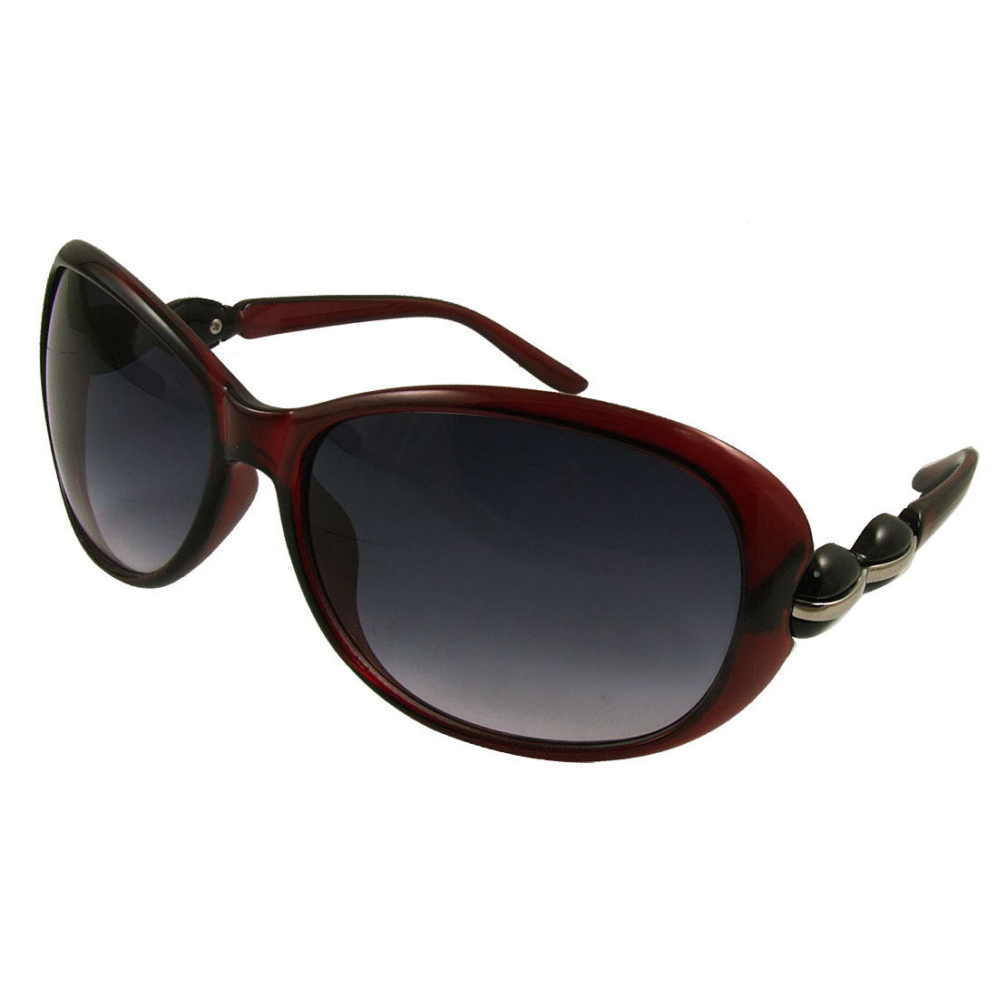 Woman Plastic Arm Burgundy Full Frame Sunglasses Eyewear