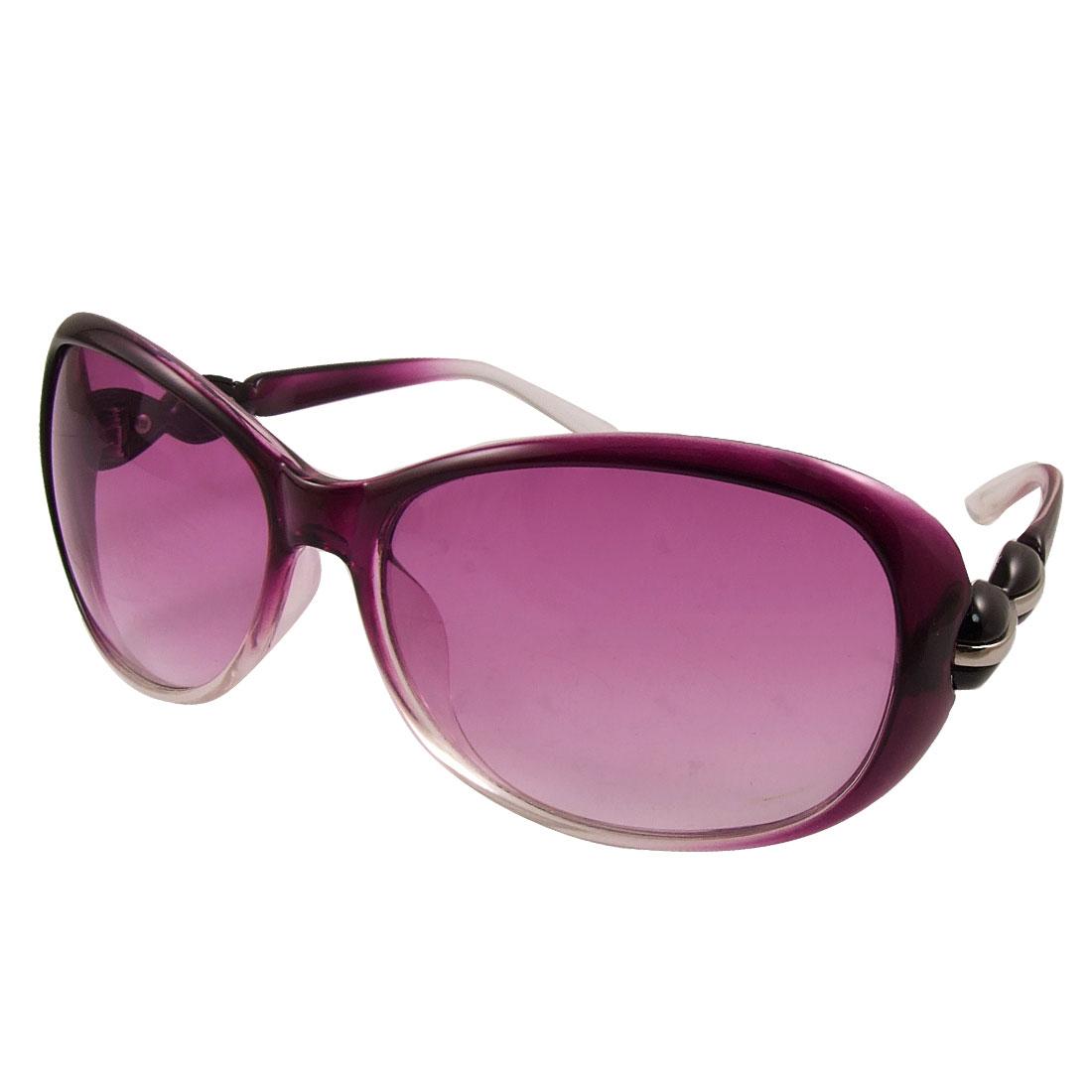 Purple Plastic Full Rim Single Bridge Sunglasses for Woman