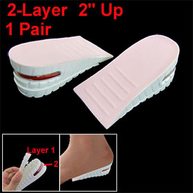 "Lady Pink White Foam Plastic Double Layer 2"" Up Shoes Pads Height Insoles Pair"