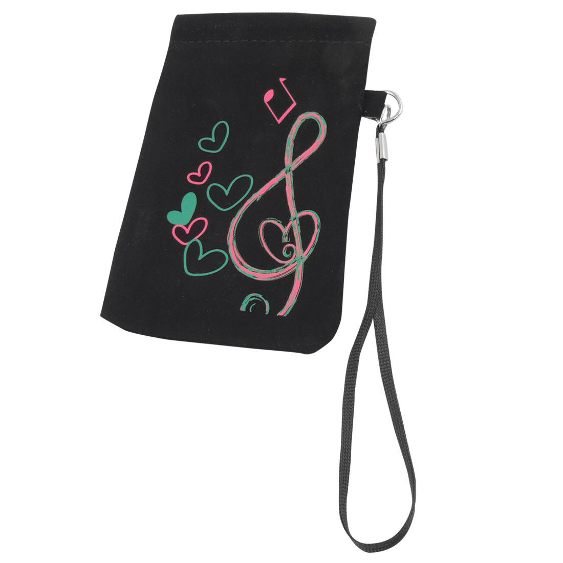 Portable Heart Print Vertical Pouch Bag Holder Black for iPhone 4 4G 4S