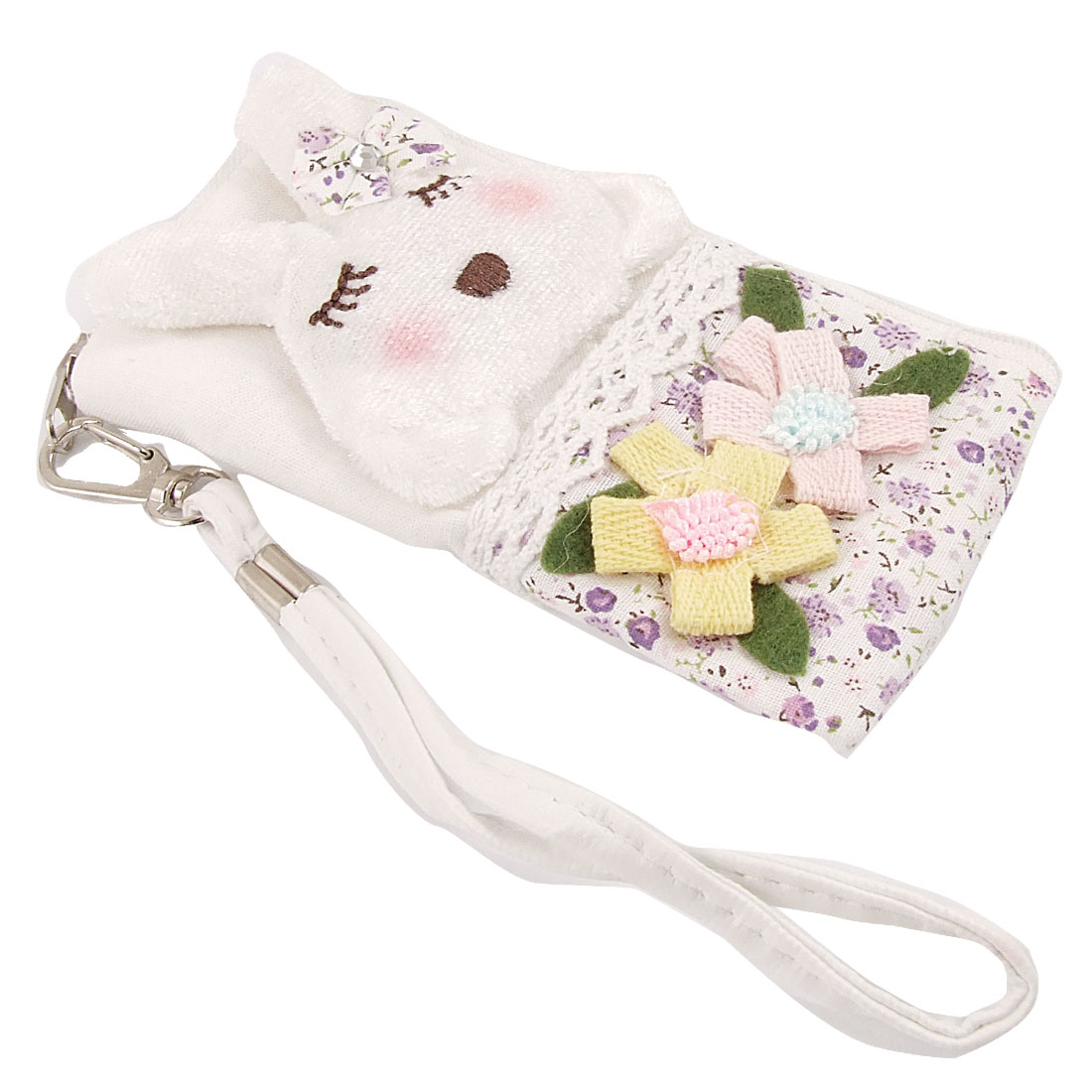 Zipper Closure Rabbit Decor Pouch Bag Holder w Strap for iPhone 4 4G 4S