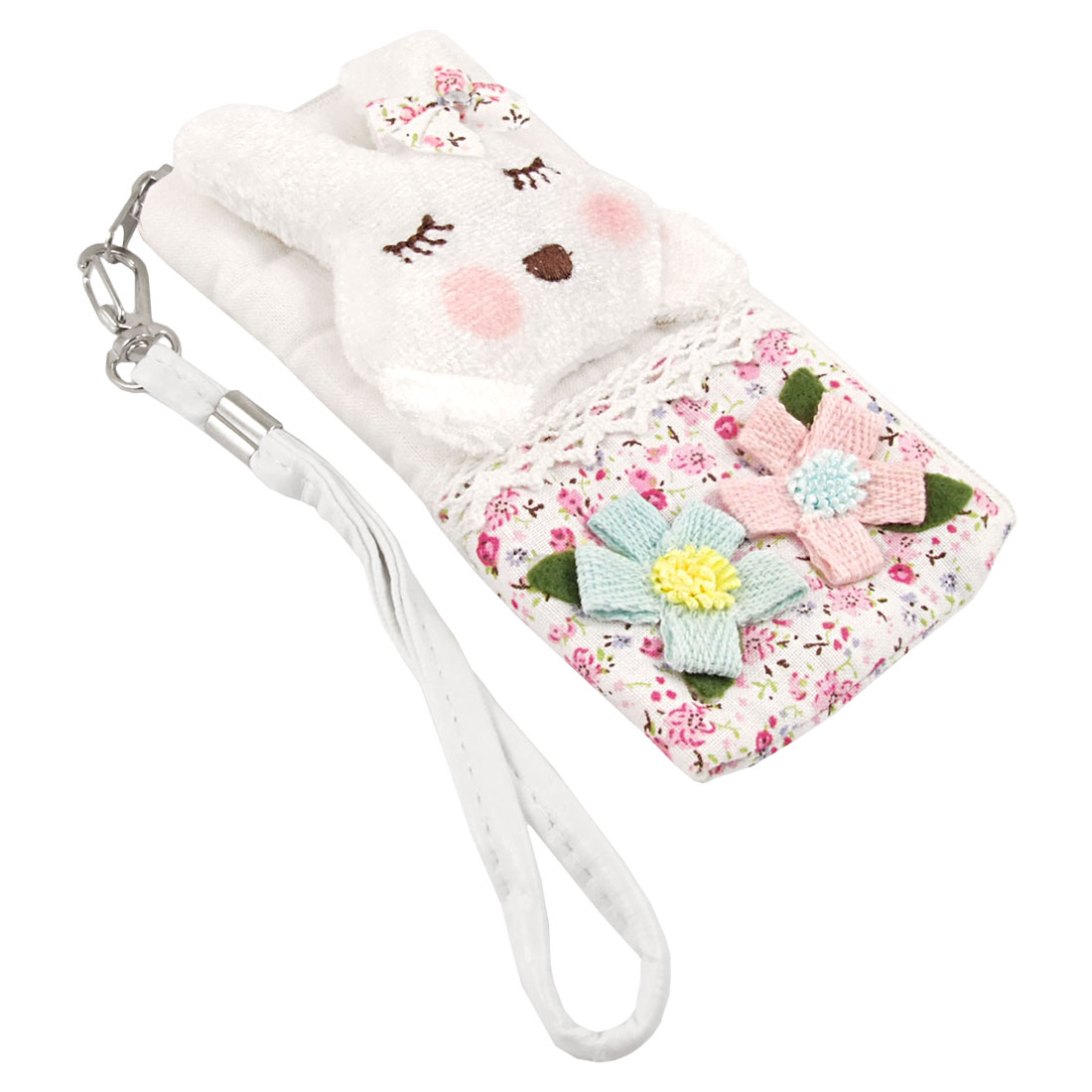 Bowknot Accent Rabbit Decor Pouch Bag Holder w Strap for iPhone 4 4G 4S