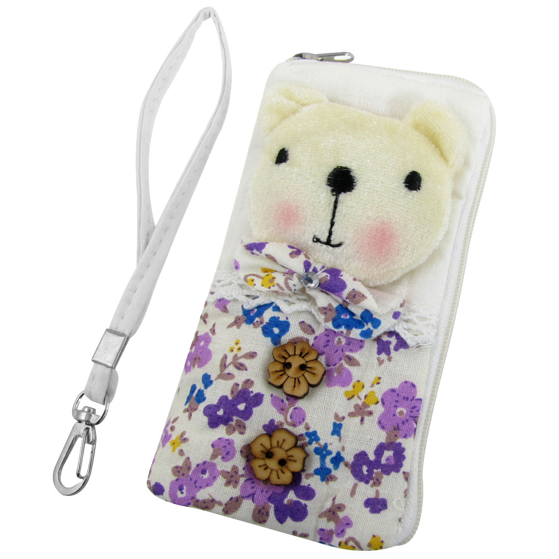 L Shape Zip Closure Bear Decor Pouch Bag Holder w Strap for iPhone 4 4G 4S