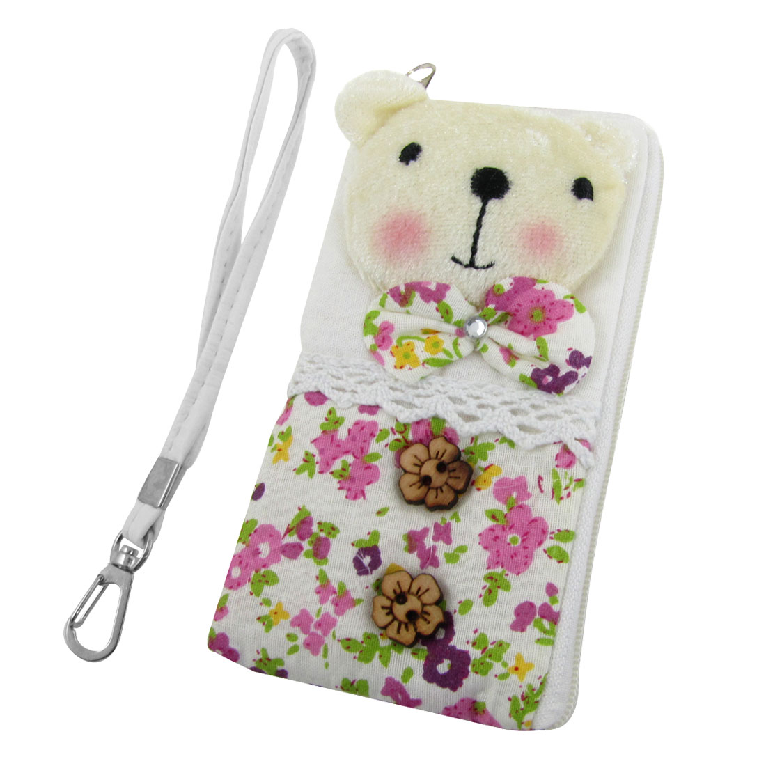 Brown Flower Decor L Shape Zip Up Pouch Bag Holder for iPhone 4 4G 4S